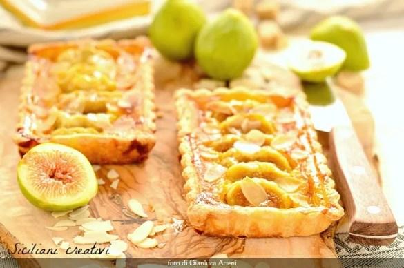 Crostatine di crema cotta allo zafferano e fichi