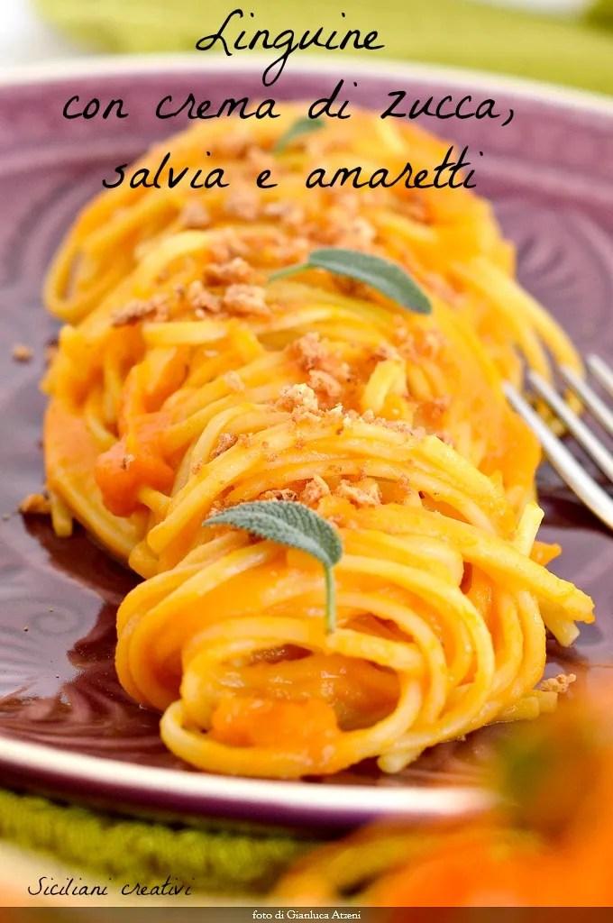 Pasta mit Kürbiscreme, Salbei und amaretti