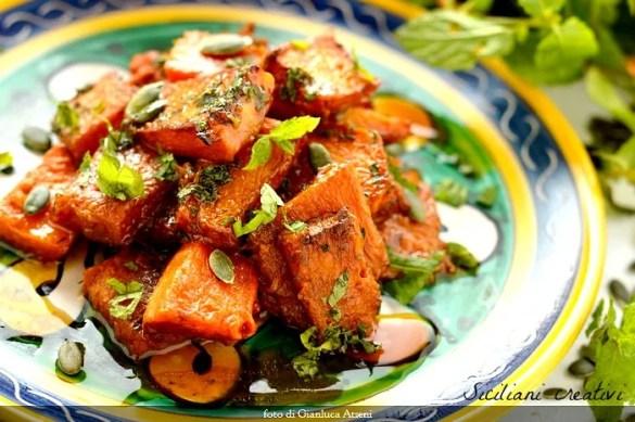 Zucca in agrodolce, ricetta siciliana vegana