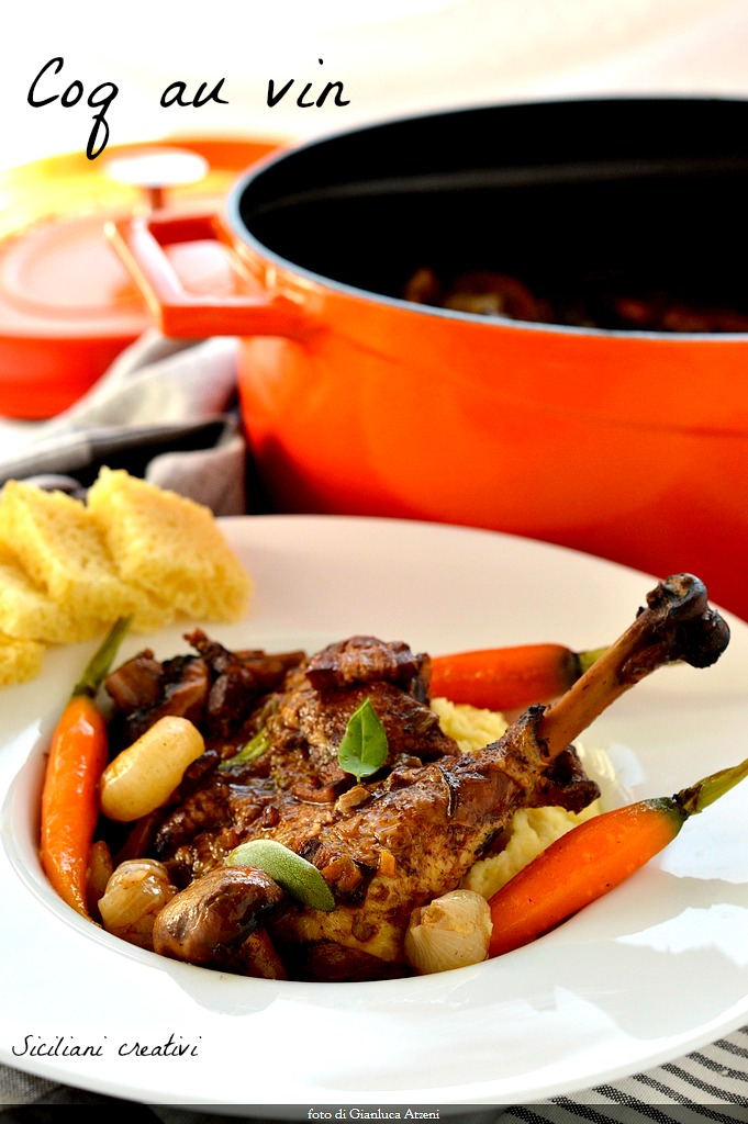 Coq au vin (chicken in wine)