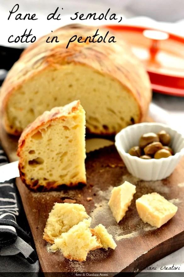 Pan de sémola, al horno en una cacerola