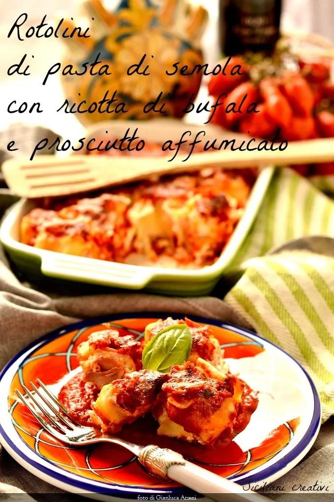 Rollen von Pasta mit Büffel-ricotta