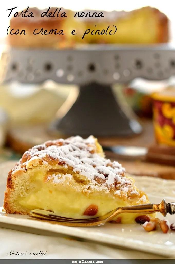 Torta della nonna (à la crème et noix de pin)