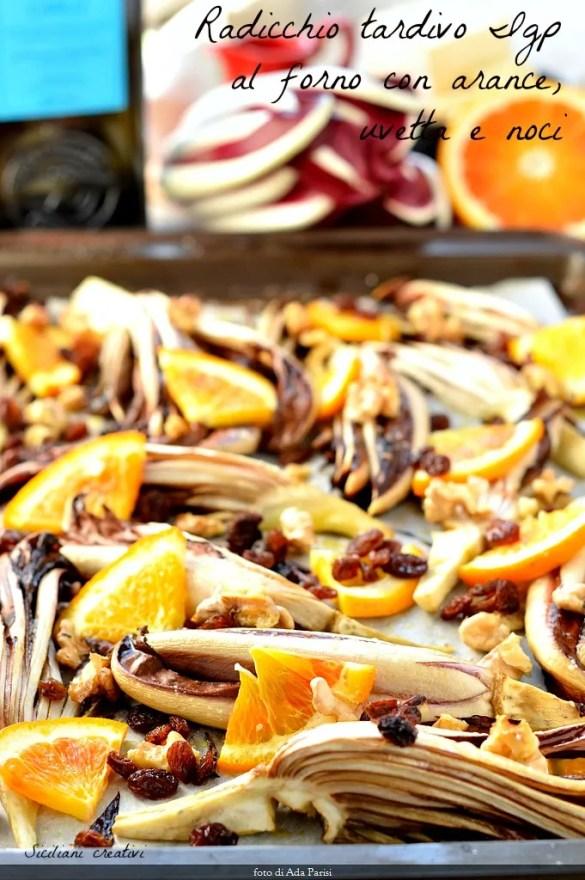 ensalada tibia de PGI radicchio al horno con naranjas, nueces y pasas