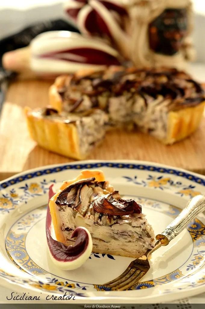 de radicchio IGP tarte rustique à la ricotta et le fromage fumé