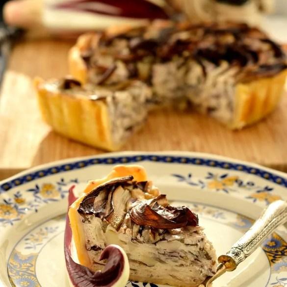 Torta rustica di radicchio tardivo Igp con ricotta e scamorza affumicata
