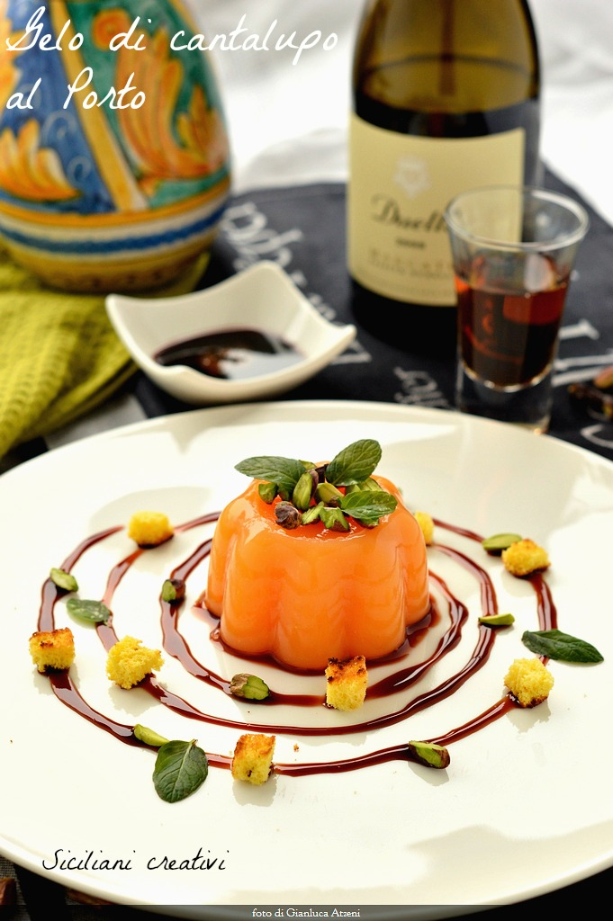 Frost cantaloupe melon in port wine