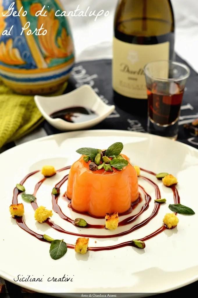 Gel melon cantaloup dans le vin de port