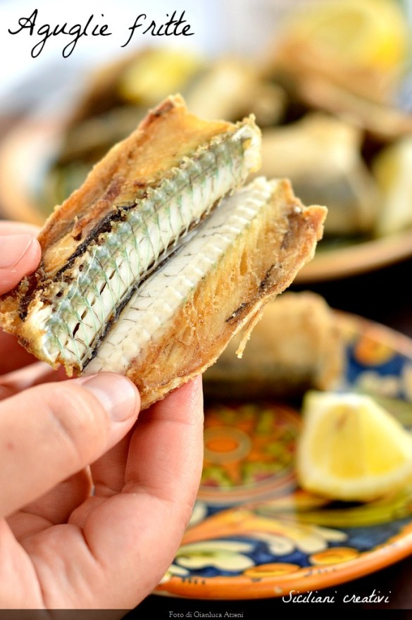 fried garfish: a fish bone from the wonderful traditional Sicilian sea green