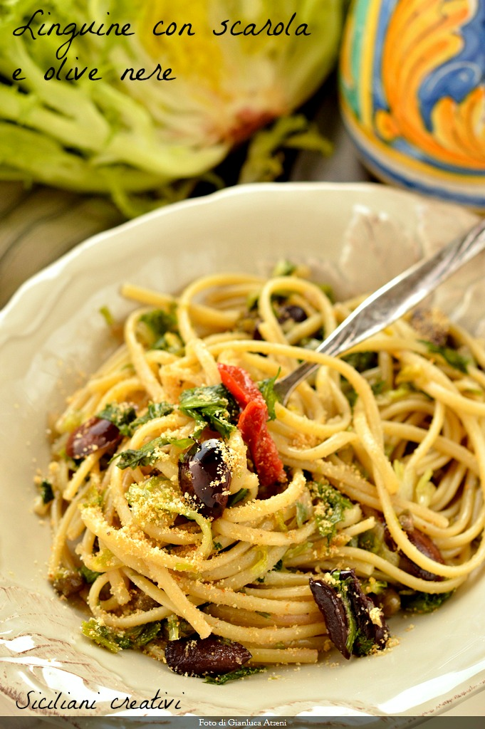Linguine with escarole, black olives and bread crumbs