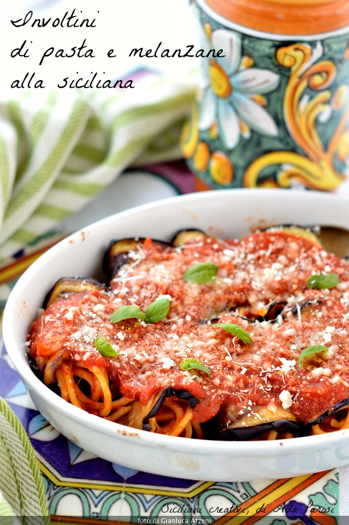 Rolls of pasta and eggplant fried Sicilian