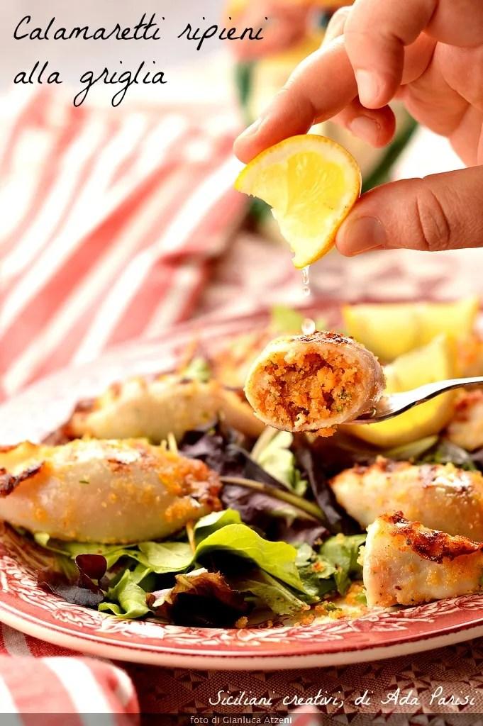 Stuffed squid grilled Sicilian