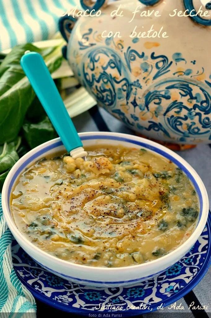 Sizilianische Suppe aus getrockneten Bohnen und Rüben