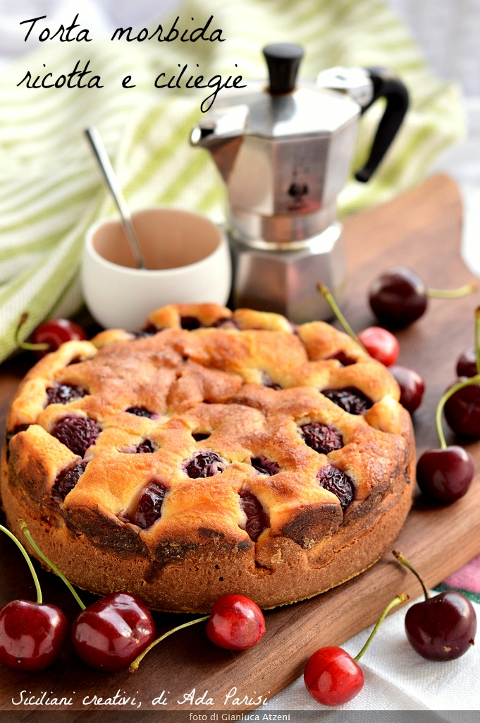 soft cake with ricotta and cherries
