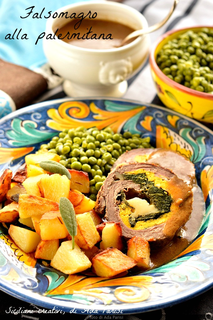 Falsomagro Palermo style, a second traditional Sicilian cuisine and rFalsomagro to Palermo: Meat stuffed with salami, spinach frittata.