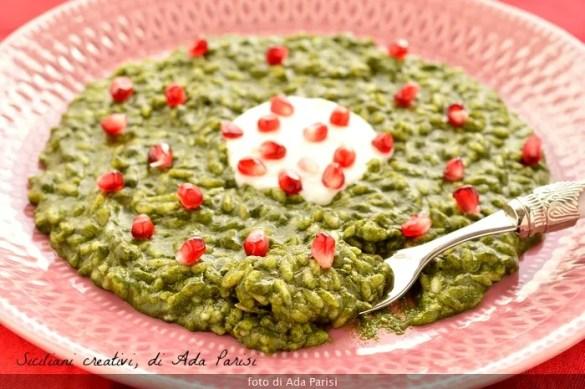 Risotto agli spinaci, besciamelle e melagrana