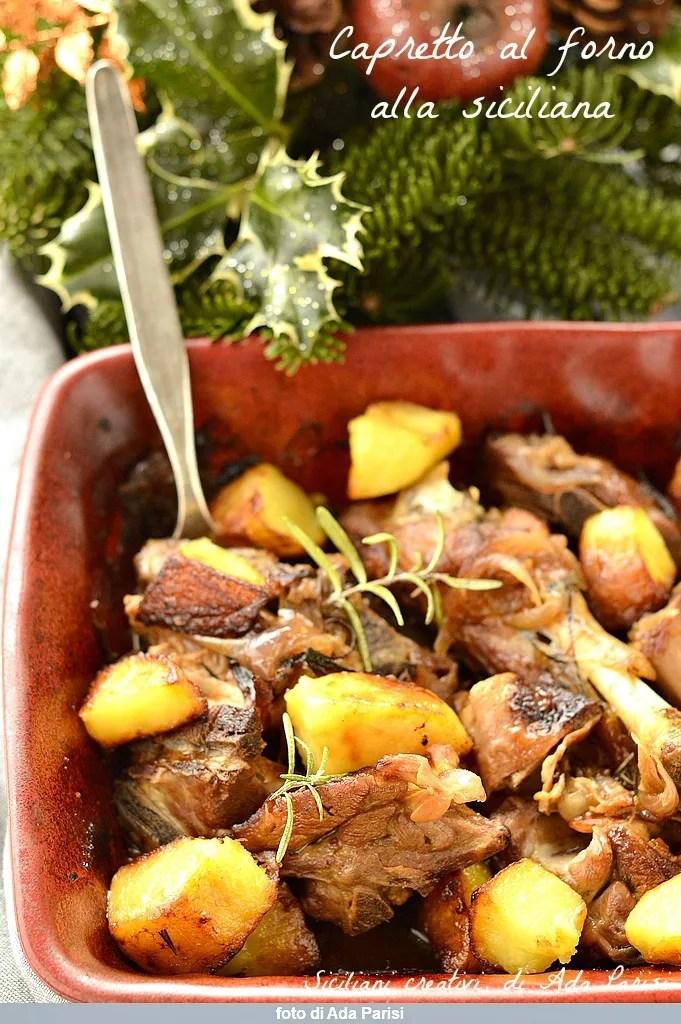 Cabra al horno siciliana con patatas