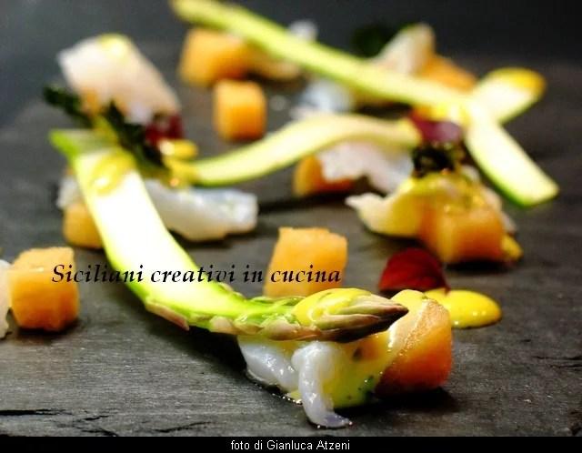 Carpaccio de cabillaud avec melon, Asperges et mayonnaise