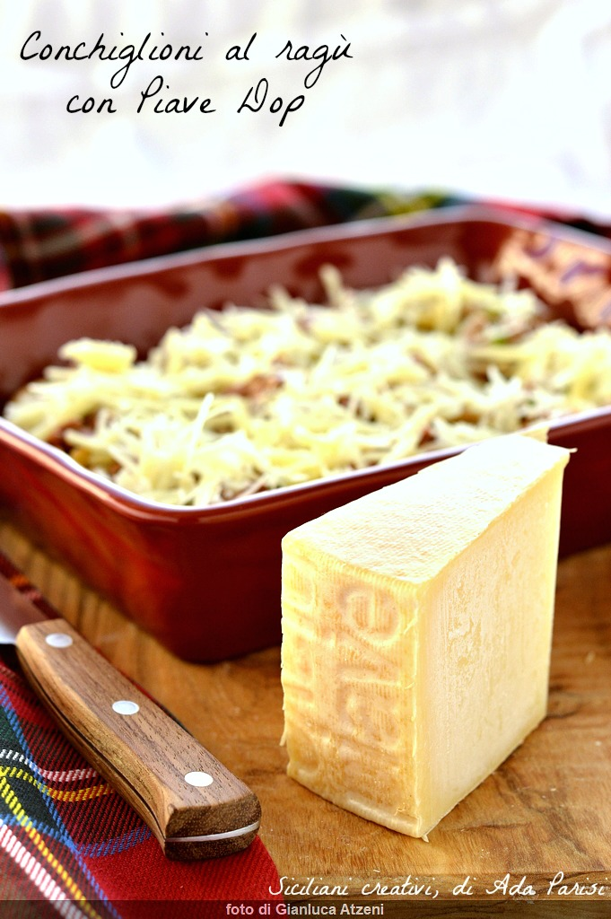 Conchiglioni farci sauce à la viande avec Piave Dop