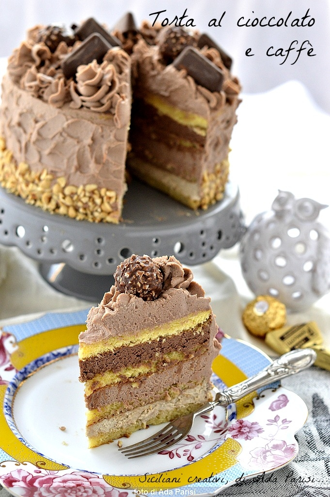Layer Cake with chocolate and coffee, 3 layers of creams and chocolates as decoration