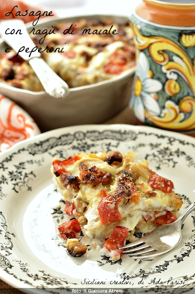 Lasagne con ragù di maiale e peperoni