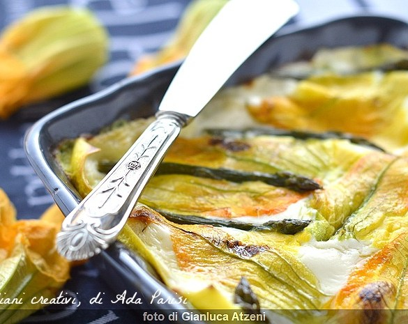Lasagne bianche vegetariane fiori di zucca, asparagi e stracchino.