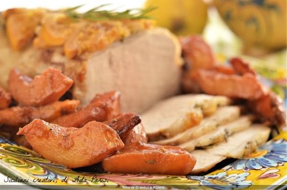 Lonza di maiale con mele cotogne
