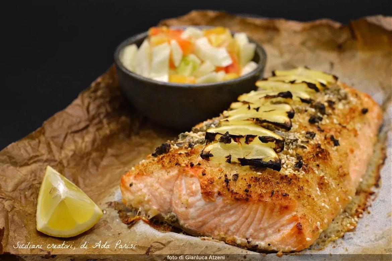 Baked gratin salmon