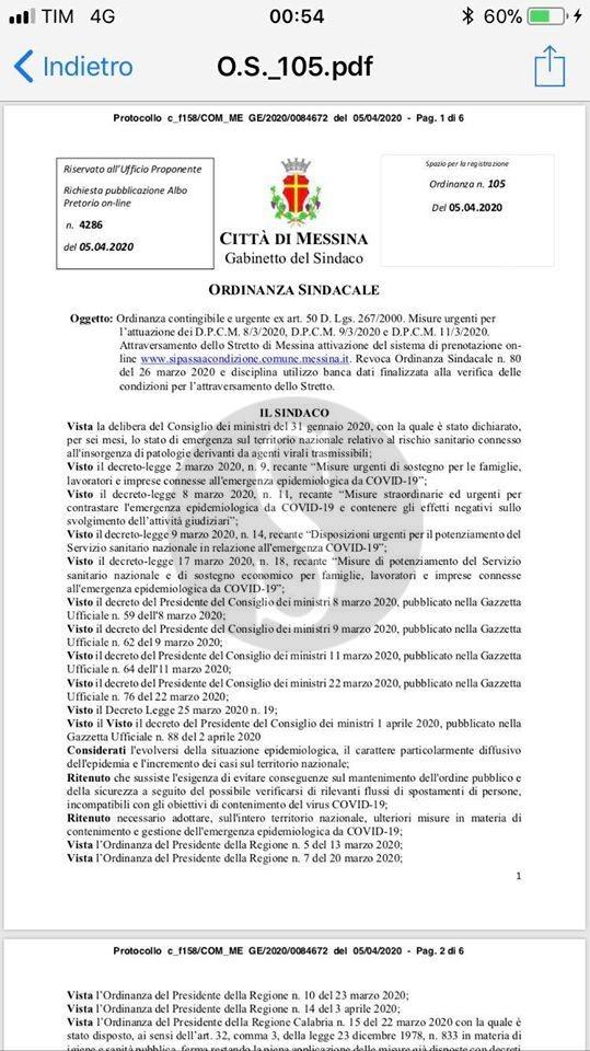 """Emergenza coronavirus Messina, nuova ordinanza. De Luca: """"Basta con gli sbarchi indiscriminati. Prenotazione 48 ore prima"""""""
