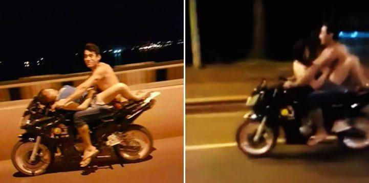 Casal a ter sexo numa moto