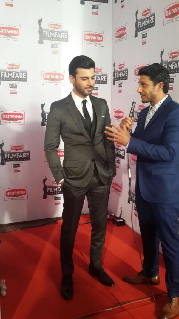 Fawad Khan gives an interview at the Filmfare Red Carpet