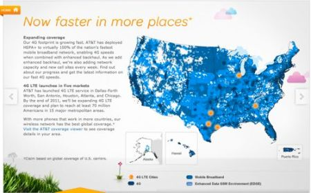 AT&T\'s new coverage map showing cities with LTE service.