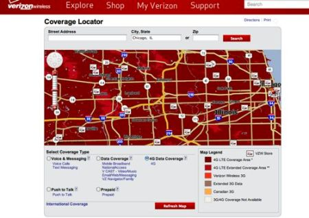Verizon 4G LTE coverage map for Chicago.