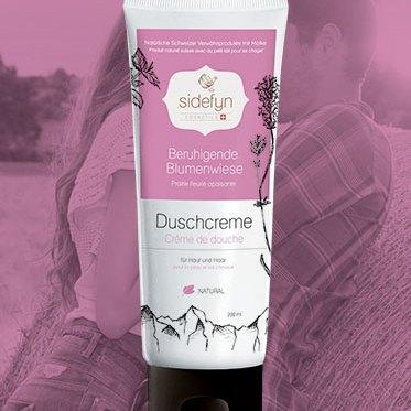Crème de douche prairie fleurie apaisante avec du petit-lait de Sidefyn Cosmetics