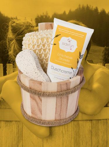 Geschenkset Holzkübel mit Sidefyn Duschcreme Erfrischende Zitronella