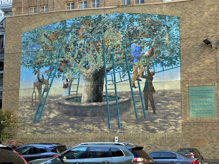 Michael Webb's Tree of Knowledge, celebrating the Eisenhower Fellowships that support international understanding, includes some trompe l'oeil brickwork.