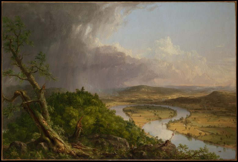 Cole painted famous works of subjects beyond the Catskills, such as his 1836 View from Mount Holyoke, Northampton, Massachusetts, after a Thunderstorm—The Oxbow. This work is held in New York City. The Metropolitan Museum of Art, New York, gift of Mrs. Russell Sage, 1908