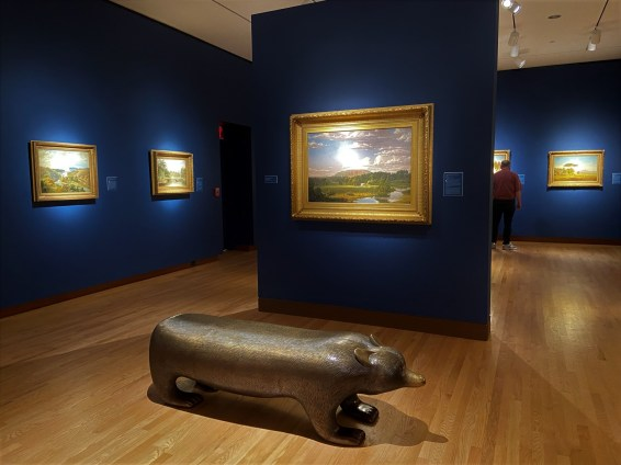 As this bear shows, even museum benches are artistic at the NMBAA, and they're different in each gallery. The painting in front is West Rock, New Haven, an 1849 work by Hudson River School painter Frederic Church.