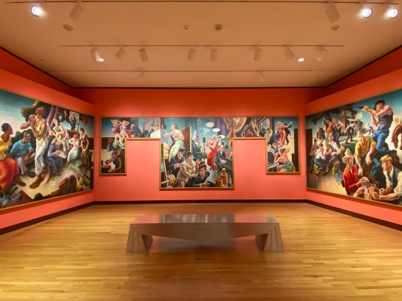 Thomas Hart Benton's exuberant mural series from 1932, The Arts of Life in America, fills an entire gallery.
