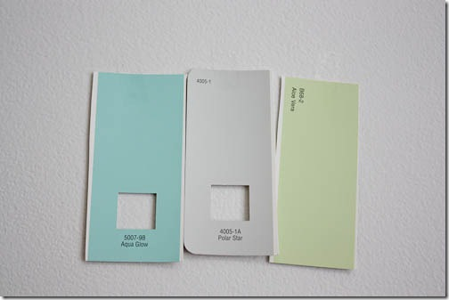 nursery paint colors: aqua glow, polar star, aloe vera
