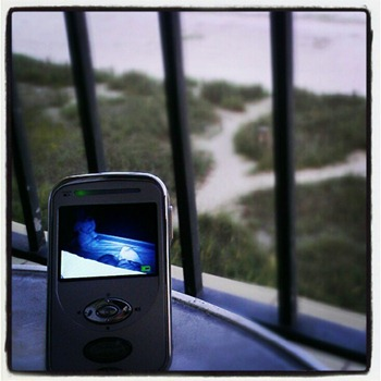 baby monitor on beach
