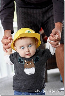 baby in construction hat