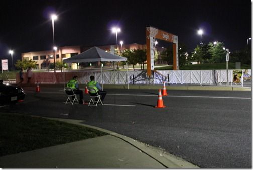 race volunteers at night