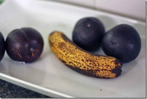 fruit- plums and bananas