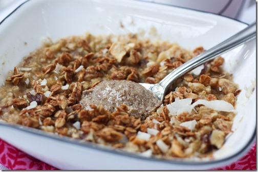 oatmeal with granola topping