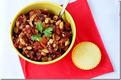 vegetarian beans and cornbread