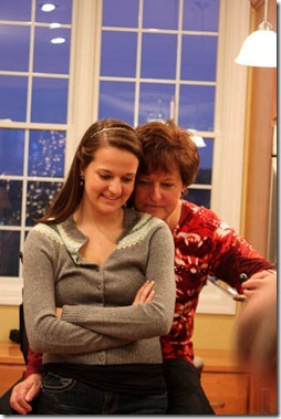mom and daughter at christmas