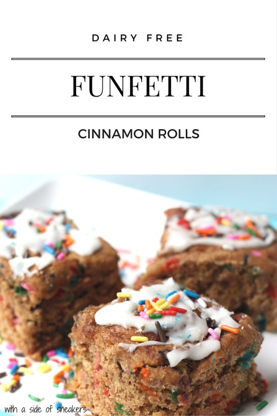 Funfetti cinnamon rolls that are dairy free and vegan. Whole wheat. Fun.