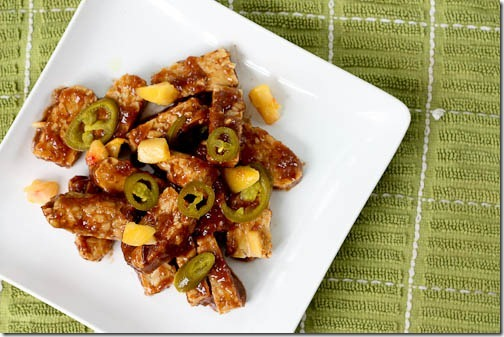 jalapeno peach barbecue tempeh