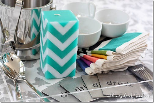 teal chevron candle